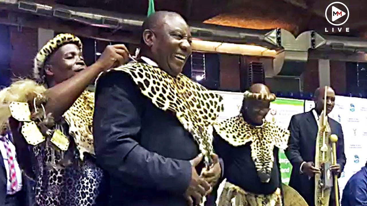 'Today we are making history': Leopard skin-clad Cyril Ramaphosa hands over  land in KZN