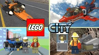 LEGO City Mining Team, Mountain Fugitives, Airshow Jet, and Speed Record Car from LEGO