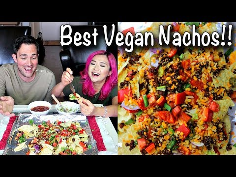 VEGAN NACHOS & BURRITOS (Mexican Mukbang / Eating Show)