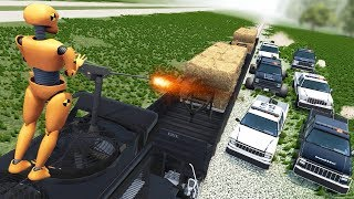 Beamng Drive - Police Chase Machine Gun vs Bandits #6