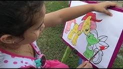Zarra Mewarnai Gambar My Little Pony Sambil Belajar Mengenal Warna