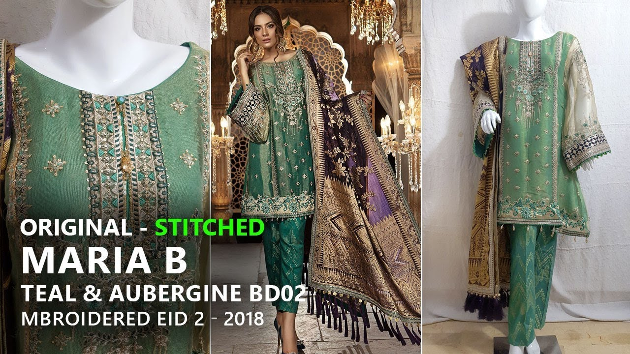 0160739fca Maria B Festive Collection 2018 - Stitched Teal & Aubergine BD02 -  Pakistani Branded Dresses