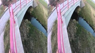 gopro 3 hd 3d google cardboard video balancing on the edge of a bridge