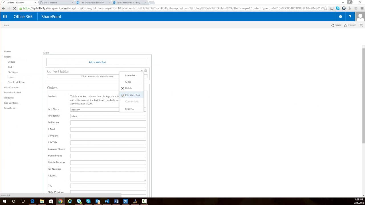 Set Lookup Fields in Edit Forms for Large Lists in SharePoint