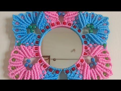 Macrame Mirror Decoration   DIY Easy & Beautiful Macrame mirror Craft   Jhulawire   Rose/Lotus Patle