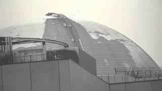 東京スカイツリー竣工日、ドーム 鉄骨 降雪・着雪・落雪.