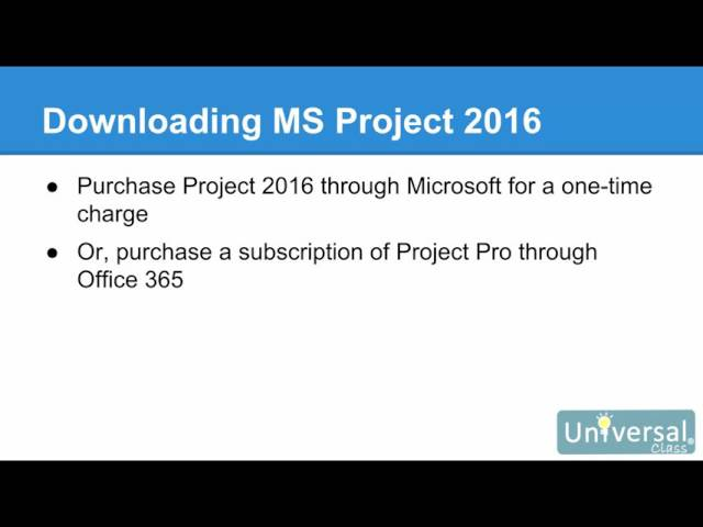 Microsoft Project 2016 Course