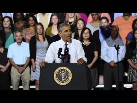President Barack Obama delivers speech on the economy in Kansas City