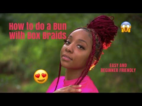 How To Do A Bun With Box Braids (Easy)