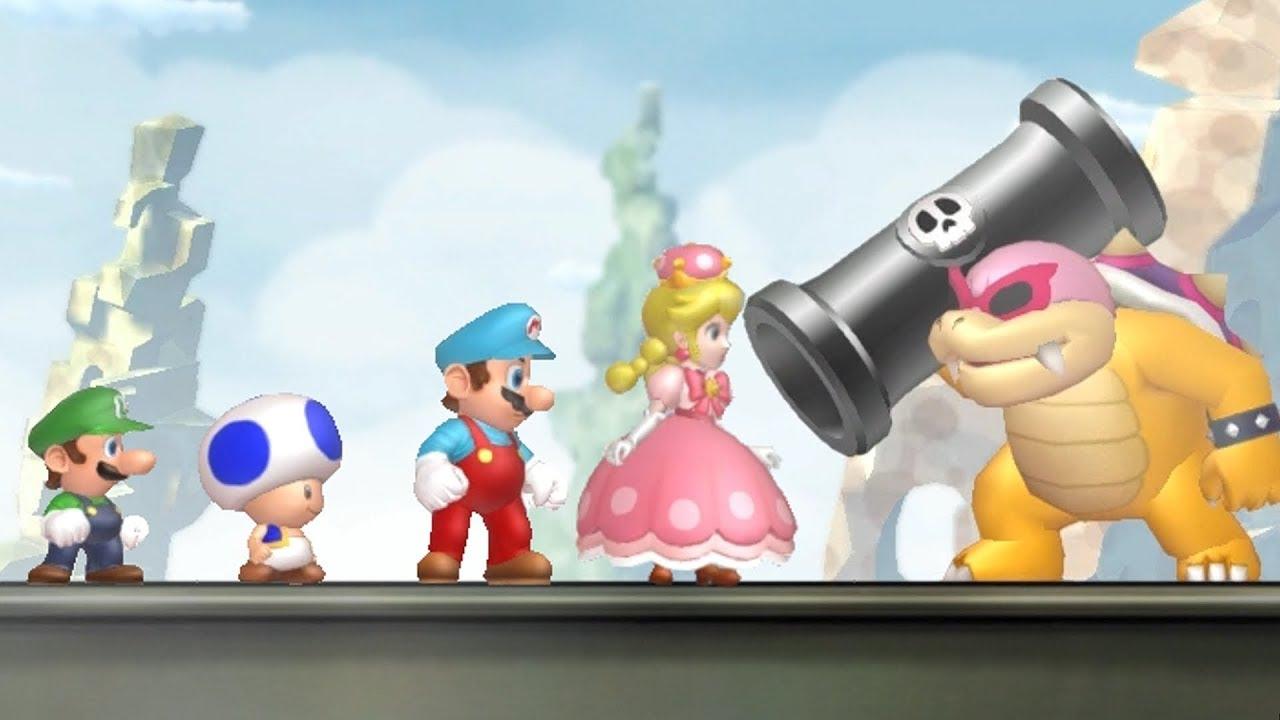 New Super Mario Bros U Deluxe All Castle Bosses 4 Players