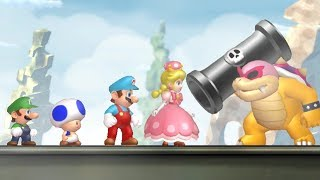 New Super Mario Bros U Deluxe - All Castle Bosses (4 Players)