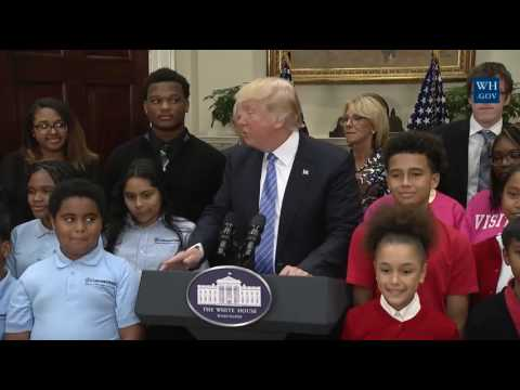 Trump surprises Betsy DeVos, youngsters by showing up at school choice event