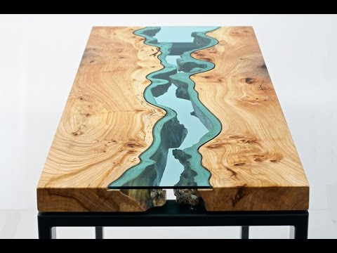 Nice Wood Tables Embedded With Glass Rivers