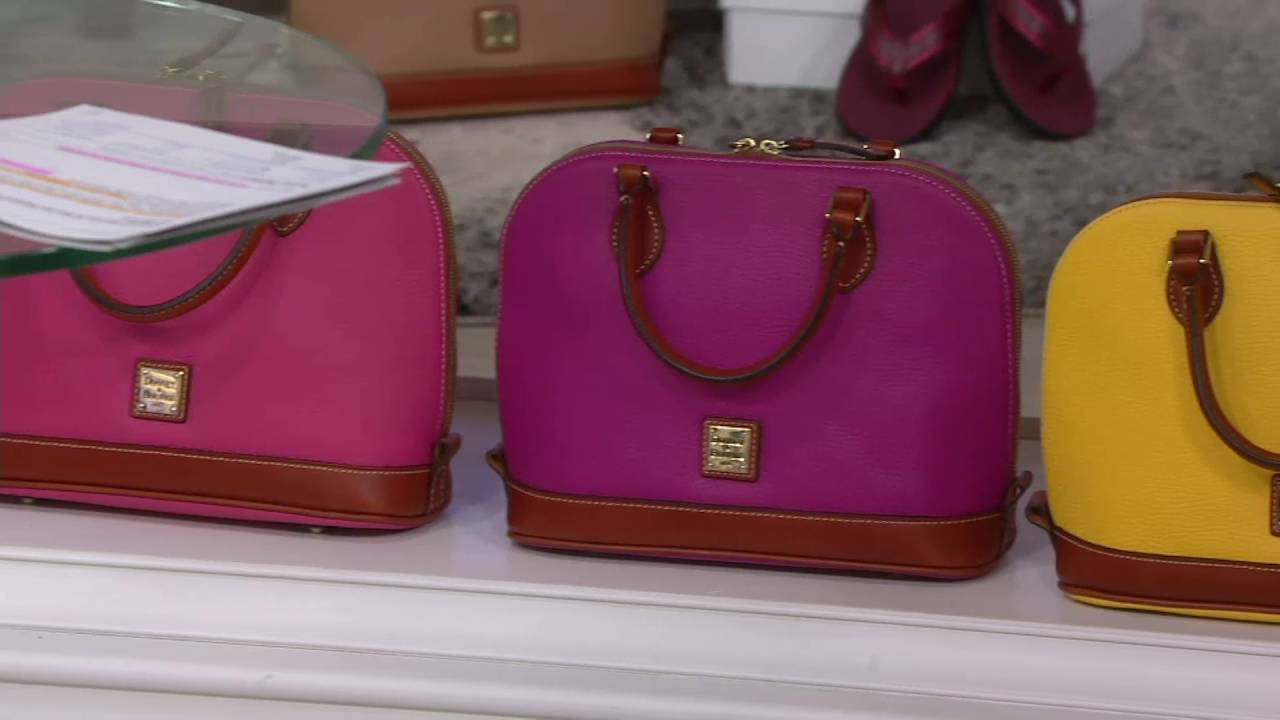 0ac0bc1ed2e859 Dooney & Bourke Pebble Leather Zip Zip Satchel on QVC - YouTube