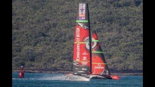 Emirates Team New Zealand's AC75 training in Auckland