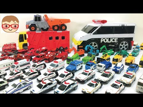 はたらくくるま(働く車) 変身する乗り物のおもちゃのVooV(ブーブ)だよ(^^) パトカーや消防車、救急車やトラック、ダンプ、ブルドーザーなど...