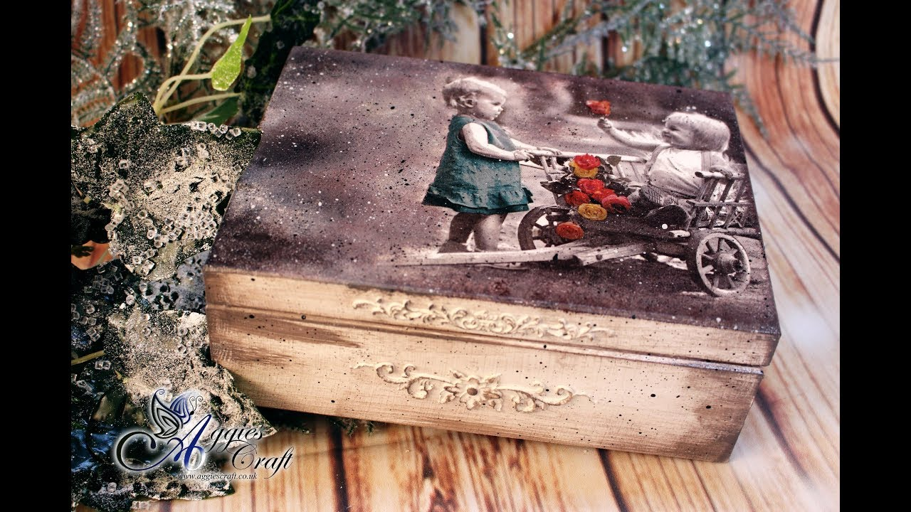 Decoupage Tutorial , Vintage Wooden Box with Children , DIY
