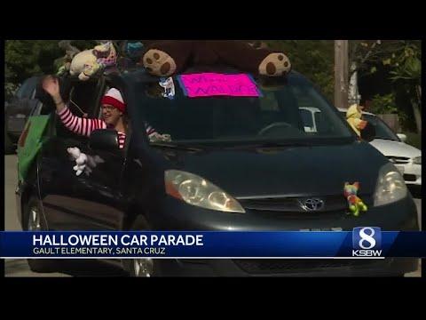 Gault Elementary School teachers host car and bicycle Halloween parade