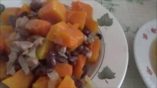 Рецепт: Суп с тыквой и фасолью. Жаркое с тыквой. Тыква с мясом и фасолью.