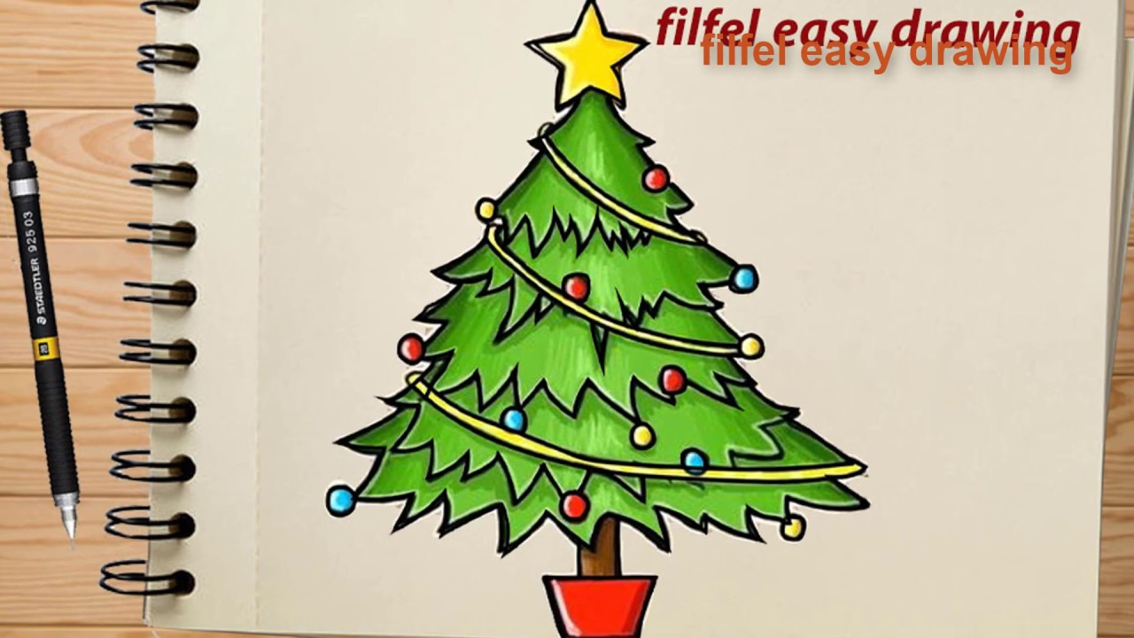 easy drawing   Pencil drawing  how to draw a simple christmas tree   christmas tree drawing ...