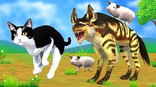 चतुर सुअर बिल्ली और लकड़बग्घा दोस्ती नैतिक कहानी - Panchatantra Moral Stories - 3d stories In Hindi
