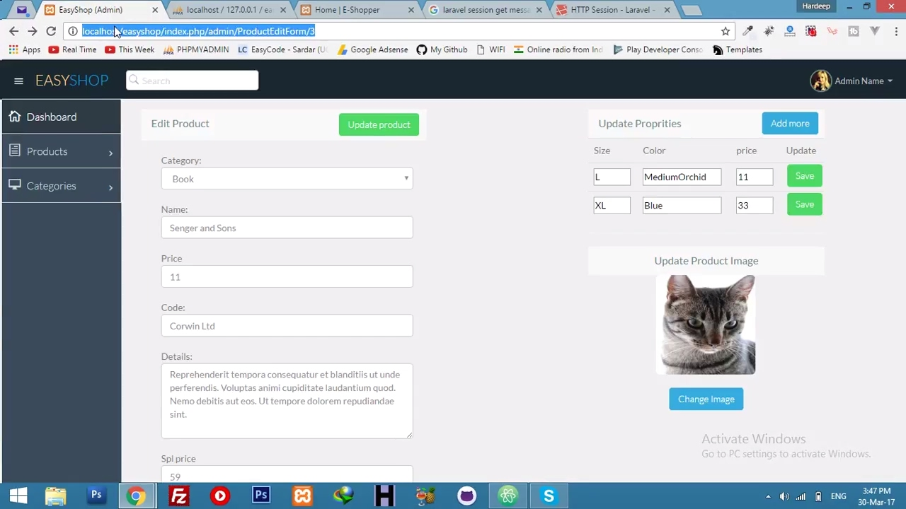 Admin Panel Features || Update Product Attributes || E-Commerce ...