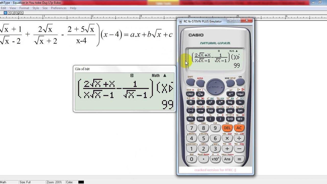 Sử dụng máy tính cầm tay giải quyết bài toán Rút gọn biểu thức lớp 9