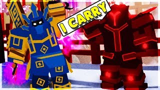 GAMER DAD CARRIES ME IN DUNGEON! (ROBLOX DUNGEON QUEST)