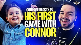 COURAGE REACTS TO HIS FIRST GAME WITH CONNOR! ONE YEAR LATER! (Fortnite: Battle Royale)