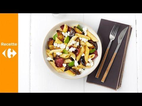 pâtes-aux-aubergines,-canard-fumé-et-feta