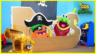 Gus Pretend Play with Box Fort Pirate Ship and Hunt for Treasure Chest!!