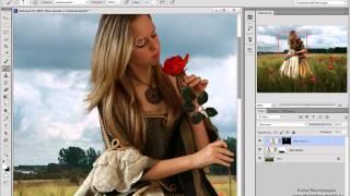 Создаём коллаж с девушкой среди цветов в Фотошоп