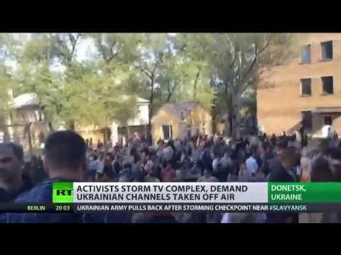 Pro-federalization activists seize TV station in Donetsk, demand Ukrainian channels cut
