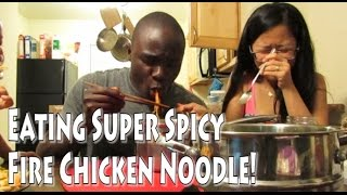 EXTREME SPICY RAMEN NOODLE (KOREAN FIRE CHICKEN NOODLE) FOR DINNER - Vlog 2016 ep.7 불닭볶음면 먹기