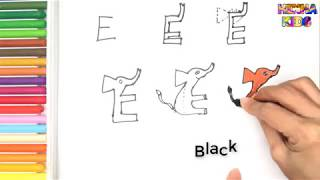 How To Draw and Color a Elephant Easy Steps By Step ✅How To Teach Baby To Speak English