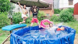 Làm Bể Bơi Tại Nhà Siêu Khổng Lồ ❤ Nói Dối Chị Đi Bơi - Trang Vlog
