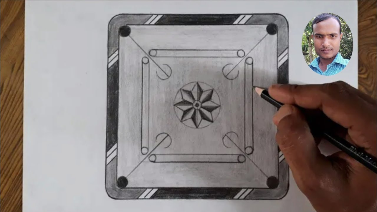 How to draw carrom board easy steps for beginners/Pencil ...