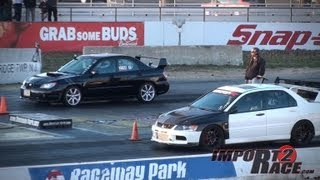 Subaru WRX vs EVO IX Drag Race