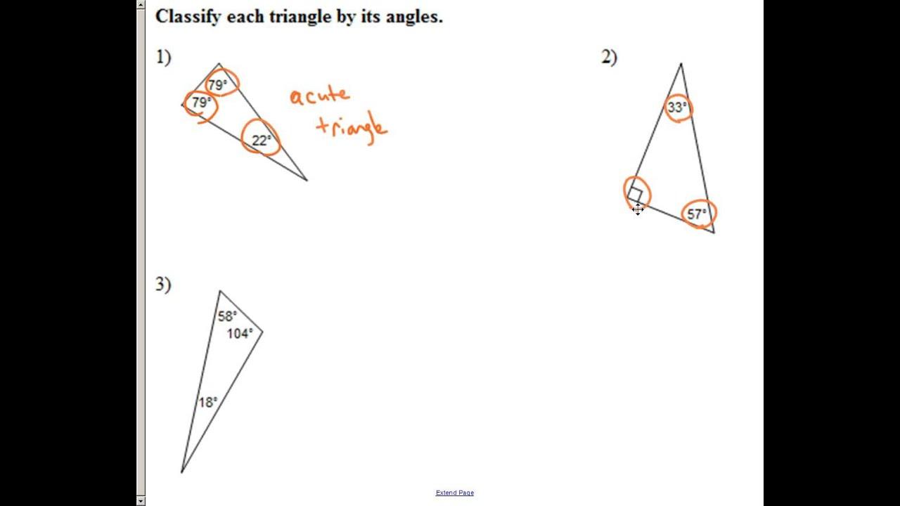 worksheet Classifying Triangles Worksheet 11 1 classifying triangles by sides and angles youtube angles