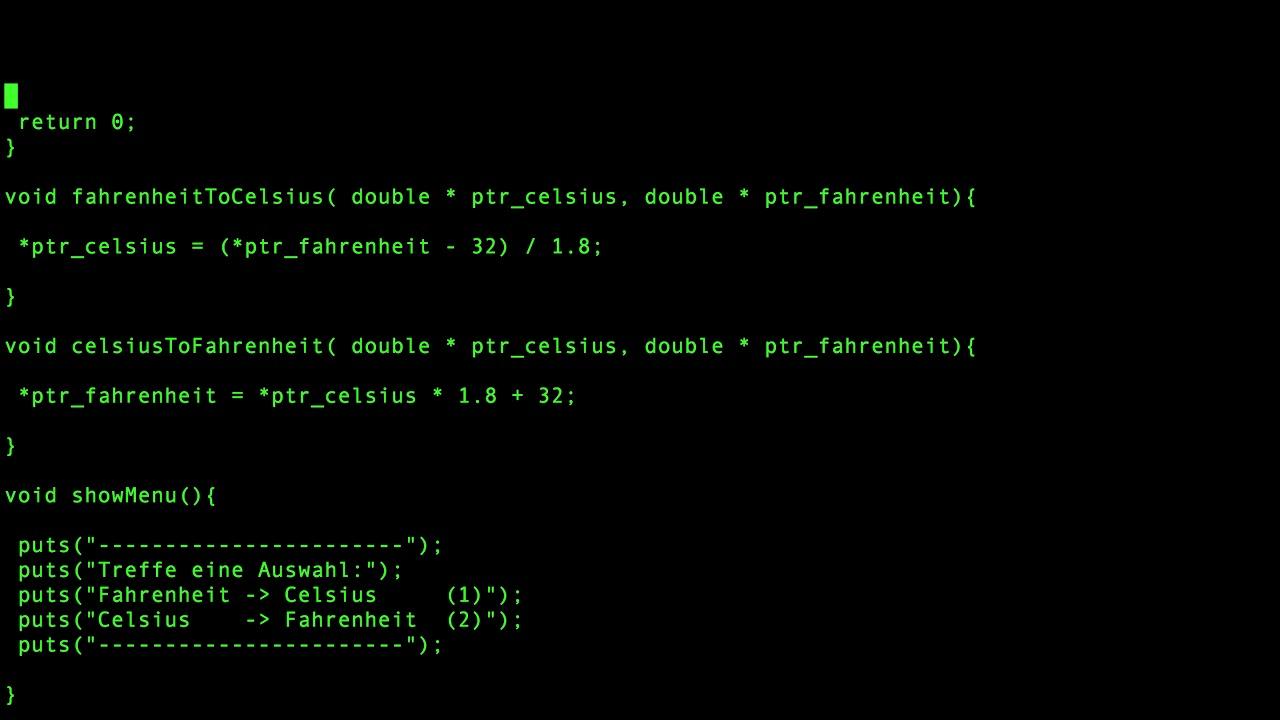 C Programmieren im Terminal   Fahrenheit in Celsius umrechnen  und  umgekehrt