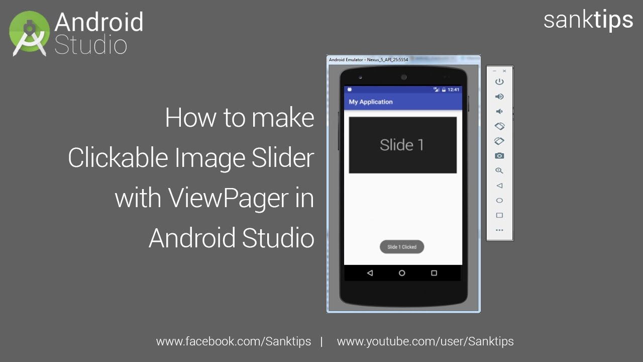 How to make Clickable Image Slider with ViewPager in Android Studio |  Sanktips