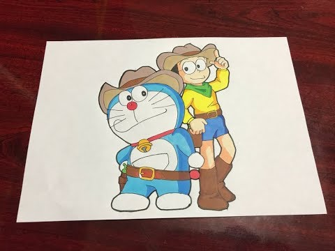 Speed Drawing Doraemon Cowboy Anime Character Art For Kids Children