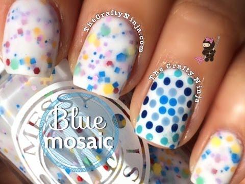 Blue Mosaic Nail Art by a The Crafty Ninja