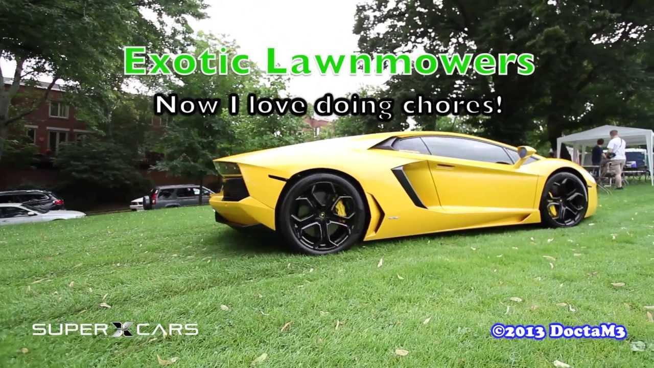 exotic lawnmowers (aventador & 458 italia) arrive on the green