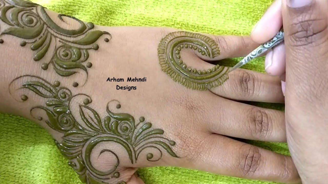 gulf pattern arham mehndi design front hand