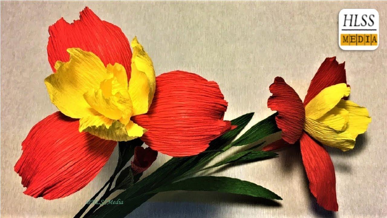 How to make iris paper flower| Iris flower paper folding for kits ...