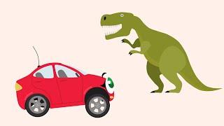 БИБИКА - Динозавры: Бронтозавр, Птеродактиль, Тираннозавр, Диплодок - Мультик про машинки и животных