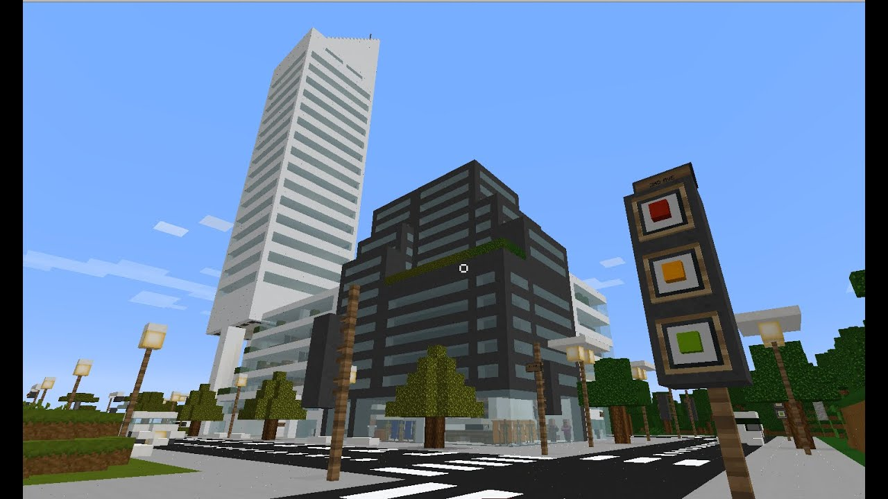 Minecraft city - New York Citigroup building skyscraper replica tour tutorial how to build real