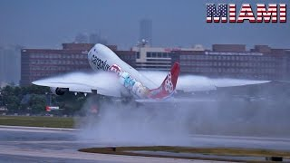 SUPERB Takeoff BOEING 747-8 on wet runway