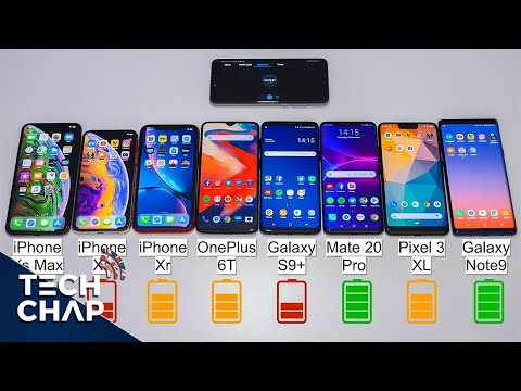 OnePlus 6T vs Mate 20 Pro vs Note9 vs Pixel 3 XL vs iPhone XS / XR BATTERY Test! | The Tech Chap